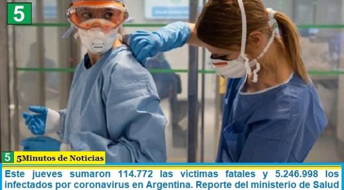 Este jueves sumaron 114.772 las víctimas fatales y 5.246.998 los infectados por coronavirus en Argentina. Reporte del ministerio de Salud