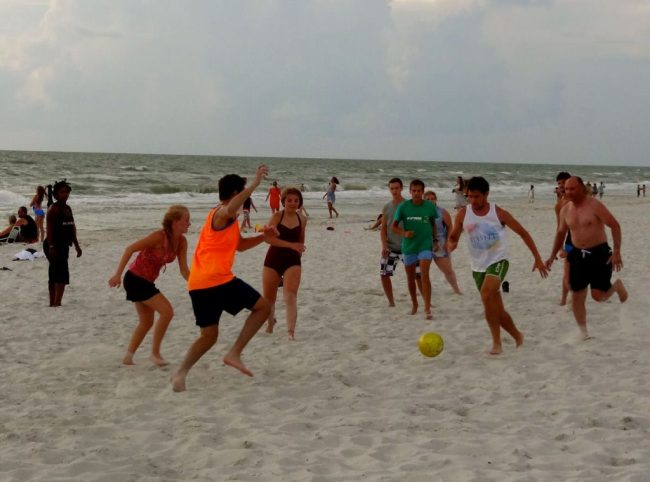 Green Bay visits Naples (summer 2014) - engaging with locals and tourists on beach through soccer outreach