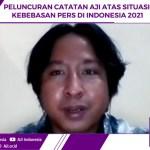 """Ketua Umum AJI Indonesia Sasmito dalam """"Peluncuran Catatan AJI atas Situasi Kebebasan Pers Indonesia 2021"""" yang dilaksanakan secara daring, di Jakarta, Senin (3/5/2021)"""