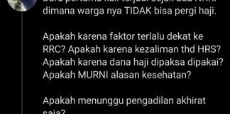 Twit Haikal Hassan Baras yang menuding pembatalan pemberangkatan jamaah haji tahun 2021 ini karena ada kedekatan antara Indonesia dengan Republik Rakyat China (RRC)