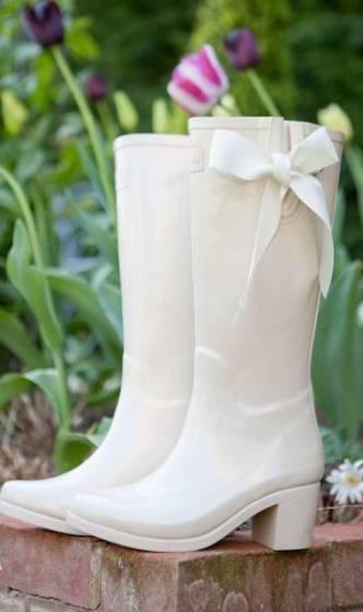 White Wedding wellies