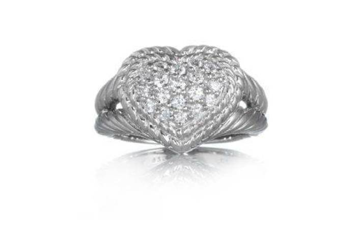 Judith Ripka Diamonique SS 0.5ct tw Pave Signature Heart Ring