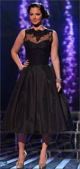 Classic Black Lace, Waisted Dress by Stephanie Allin.