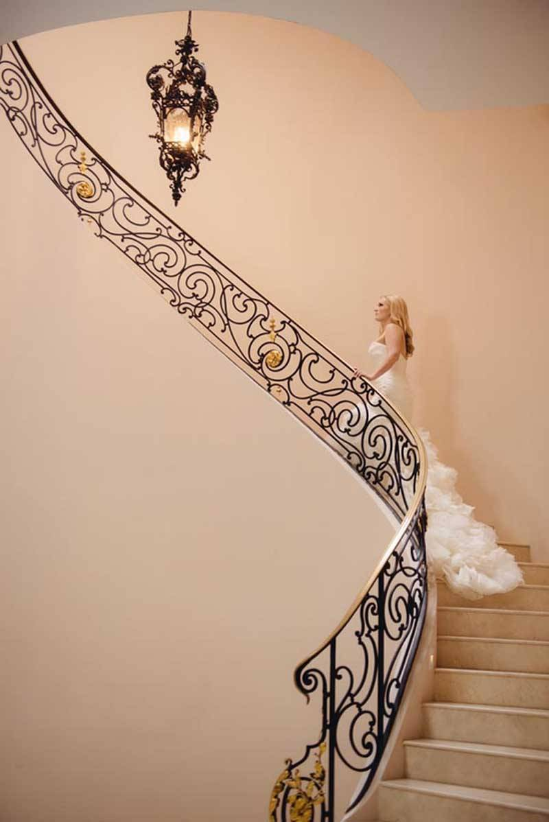 Bride and Groom On Stair Case