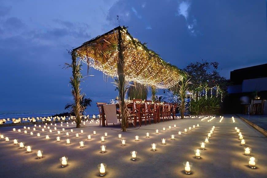 Candles in Alila Villas Soori Wedding