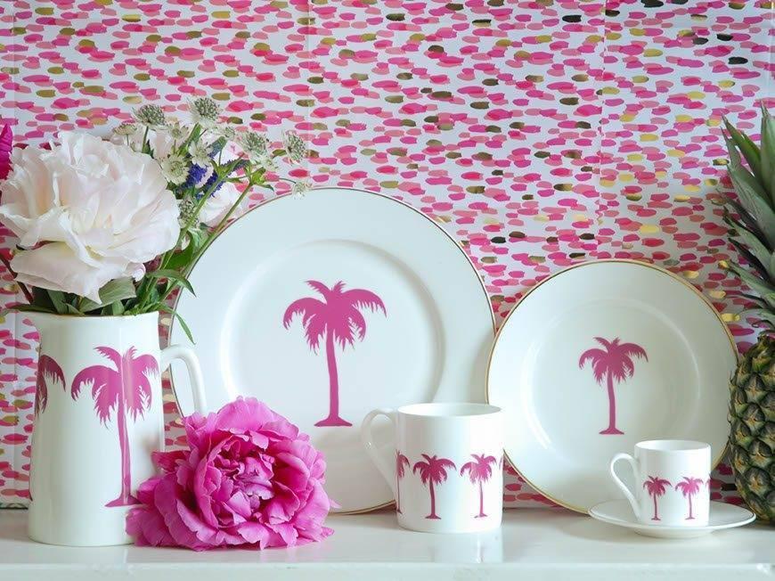 Pink and White Palm Tree China Set
