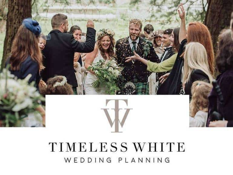 timeless white logo
