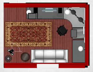 "13""x13"" room layout; camera and light at bottom left."