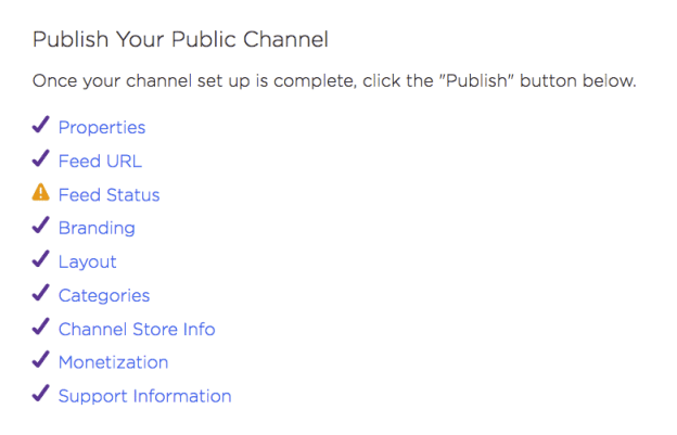 Publish your Roku channel - checklist