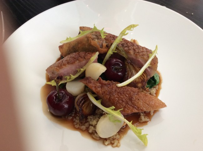 Creedy Carver duck breast, cherries, turnips, bulgur wheat