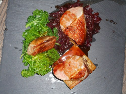 Pan Roast Duck Breast With Pressed Potatoes, Braised Red Cabbage, Curly Kale & Redcurrant Jus