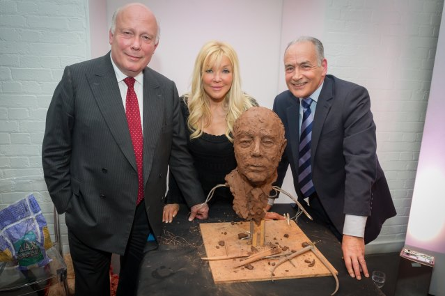 Julian Fellowes, Frances Segelman, Alastair Stewart at Stroke association charity event