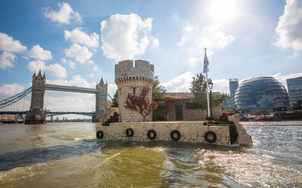 Jeff Moore 01/10/15 A Croatian island floats down London's River Thames to launch the Croatian National Tourist Board's new 'Full of Life' campaign. The man-made island celebrates the country's beauty and ancient ruins, and will be moored at Butler's Wharf Pier for the next two days to give the British public a true taste of Croatia.