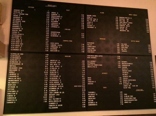 The whiskey menu at The Grey Horse, Kingston upon Thames