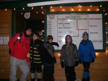 Scouter Jason, Wojtek, Finn, Isaac & Simon pose for photos at the end of the hike back at the Nordic Ski Area base station..
