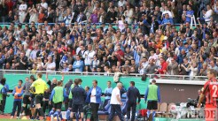 20110730 Eintracht Trier - St. Pauli, DFB Pokal, Fans, Tribüne, Jubel, Foto: Anna Lena Bauer - 5VIER