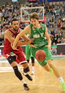 Gegen die Bamberger Defense hatte auch Marko Lukovic einige Schwierigkeiten. Foto: Thewalt