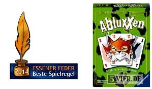 """Das Logo des Preises """"Essener Feder"""" und die Schachtel von """"Abluxxen""""."""