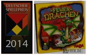 """Das Logo des Deutschen Spielepreises und die Schachtel von """"Feuerdrachen"""""""
