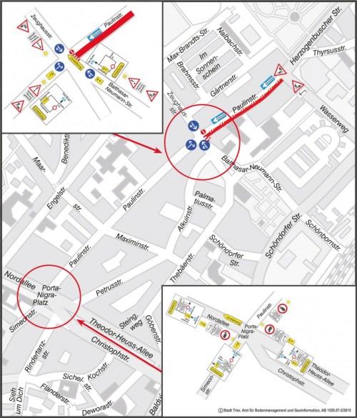 """""""Amtlicher Stadtplan © Stadt Trier, Amt für Bodenmanagement und Geoinformation AB 1520.07-2/2015"""""""