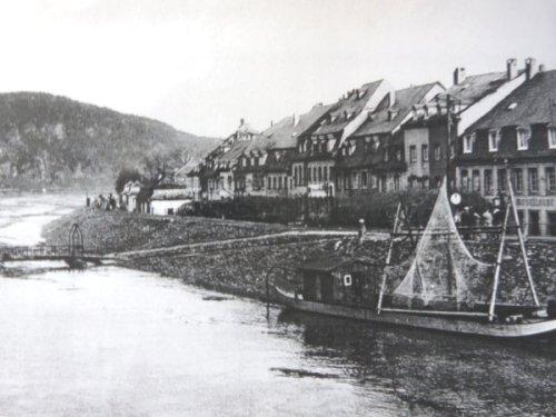 Zurlauberner Ufer früher, Blick von der Kaiser-Wilhelm Brücke, Foto: Stadtarchiv Trier, Verlag Wartberg 1995