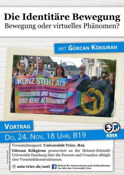 Die Identitäre Bewegung, Vortrag an der Uni, Foto: Referat für Antirassismus und Antifaschismus im AStA der Universität Trier