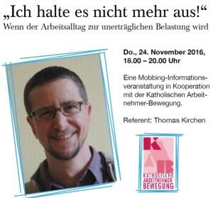 """Infoveranstaltung """"Mobbing im Alltag"""" mit Thomas Kirchen"""
