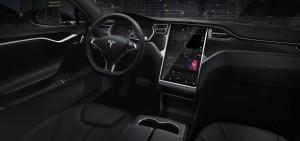 Futuristischer geht's nicht: Das Cockpit des Tesla Model S