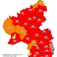 Die Karte zeigt die aktuelle 7-Tage-Inzidenz in den Landkreisen und kreisfreien Städten in Rheinland-Pfalz. Bildquelle: corona.rlp.de