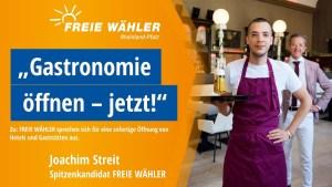 Die Freien Wähler fordern die Öffnung der Gastronomie