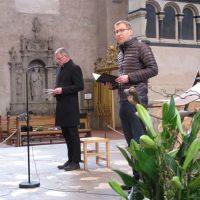 Ökumenische Andacht im Trierer Dom: Generalvikar von Plettenberg (links) und Superintendent Weber. Bildquelle: Stefan Schneider/Bistum Trier