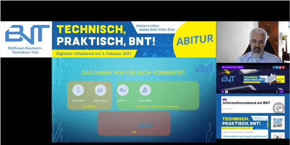 So sah der digitale Info-Abend des Balthasar Neumann Technikums aus. Oben rechts ist Herr Reis zu sehen, der durch den Abend führte. Bildquelle: 5VIER.de / Lena Groß