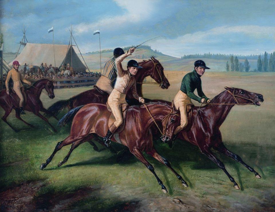 """Das Gemälde """"Pferderennen"""" von Simon Meister. Bildquelle: Stadtmuseum Simeonstift"""