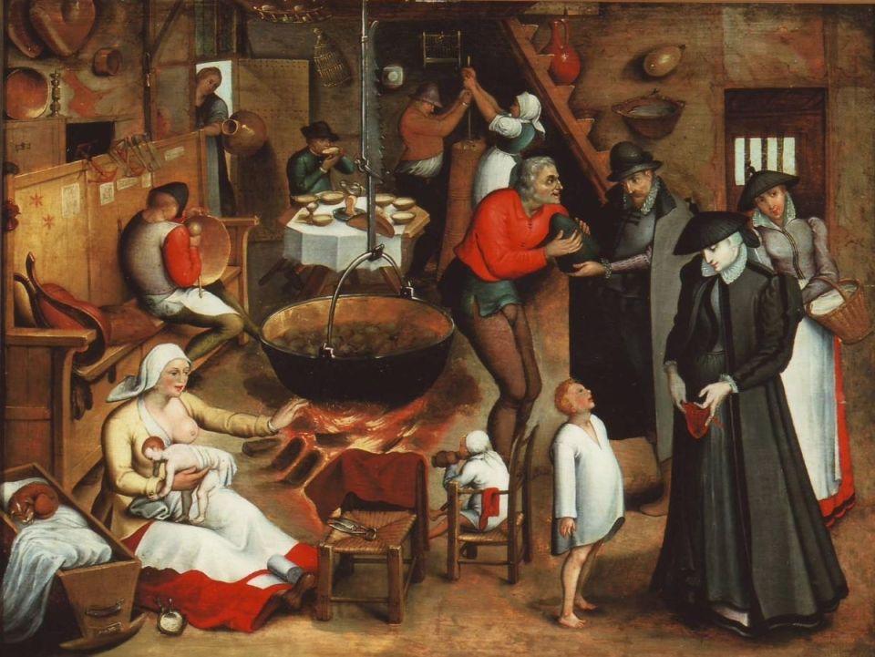 """Das Gemälde """"Hoher Besuch in der Bauernstube"""" von Pieter Brueghel. Bildquelle: Stadtmuseum Simeonstift"""
