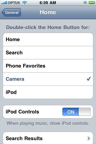 iPhone 3.0 double click home button options