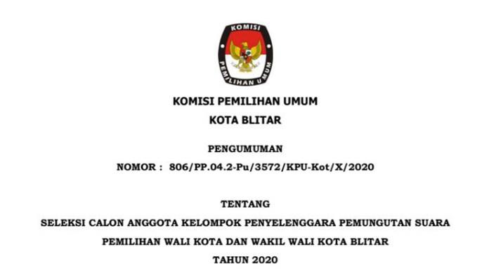 Pengumuman Seleksi KPPS Pemilihan Walikota dan Wakil Walikota Blitar 2020