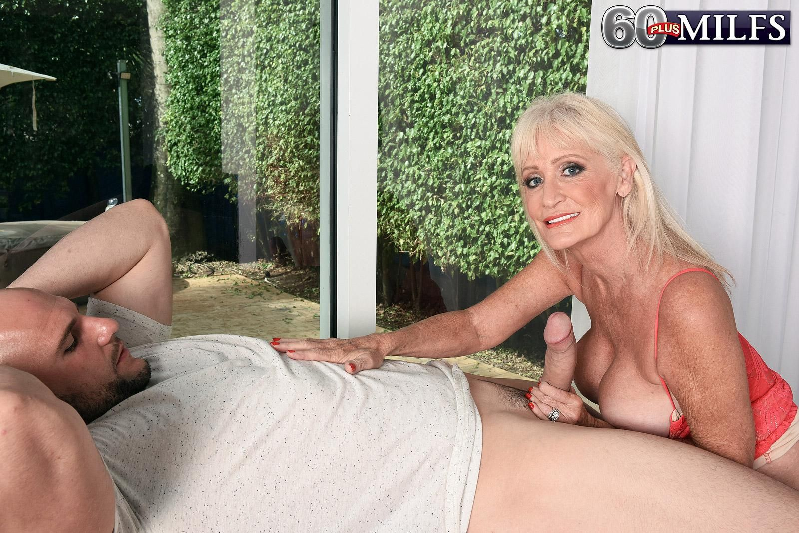 Blonde 60 Plus Milf Leah Lamour Seduces A Younger Boy With Her Big Boobs