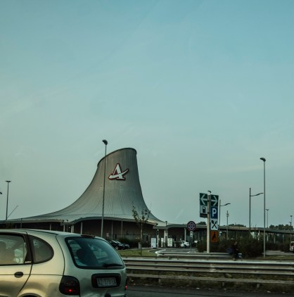 One of the many futuristic highway restaurants in Italy