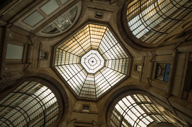 Glass roof in one the oldest shoppings malls in the world the Vittorio Emanuele II Passages