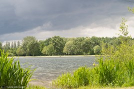 Bremen; Waller Feldmarksee in sunshine with dark skies looming in the background