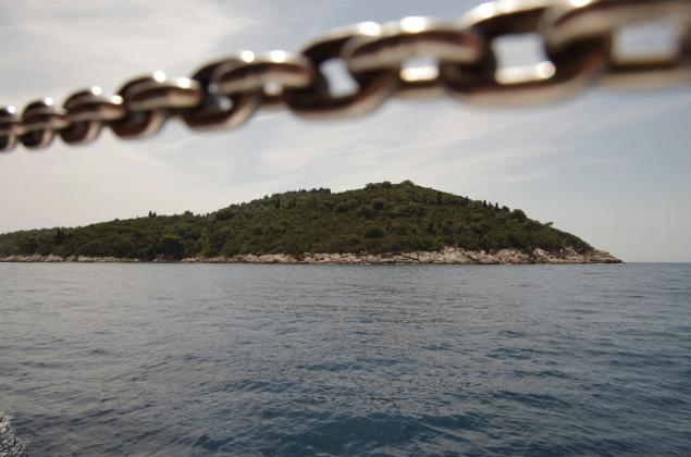 Lokrum lies directly off the coast of Dubrovnik, island seen from the boat