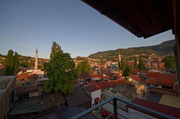 Evening sun view on Bascarsija from the balcony of our hostel.