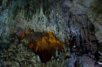 Stalagmites and stalactites in the cave near Castelcivita