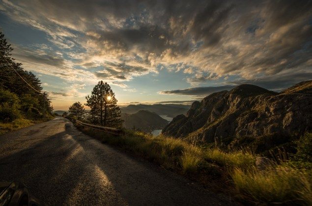 After an afternoon rain shower the road to Kotor gleams golden in the setting sun.