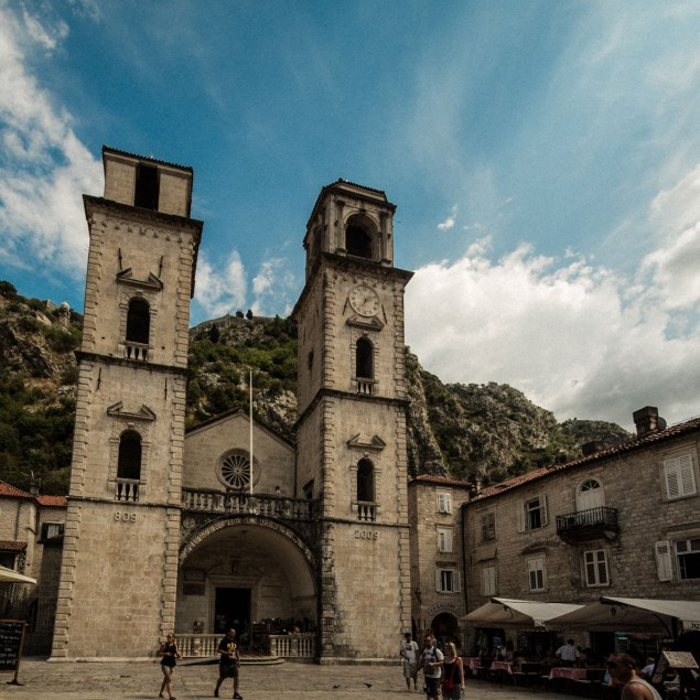 The cathedral of Saint Tryphon with it's assymetrical twin towers is something of a national monument for Montenegro and one of the main attractions in Kotor.