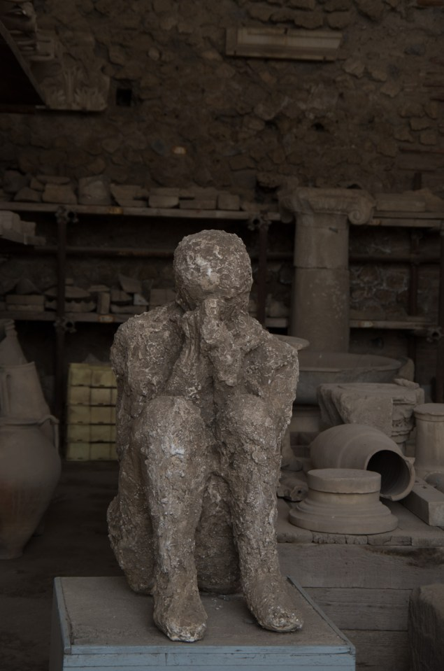 Petrified remains of a person caught in the Pyroclasm when Vesuvius erupted. Even after nearly 2.000 years the victims of Pomeii touch something in you, imagening the horror of these minutes and hours.