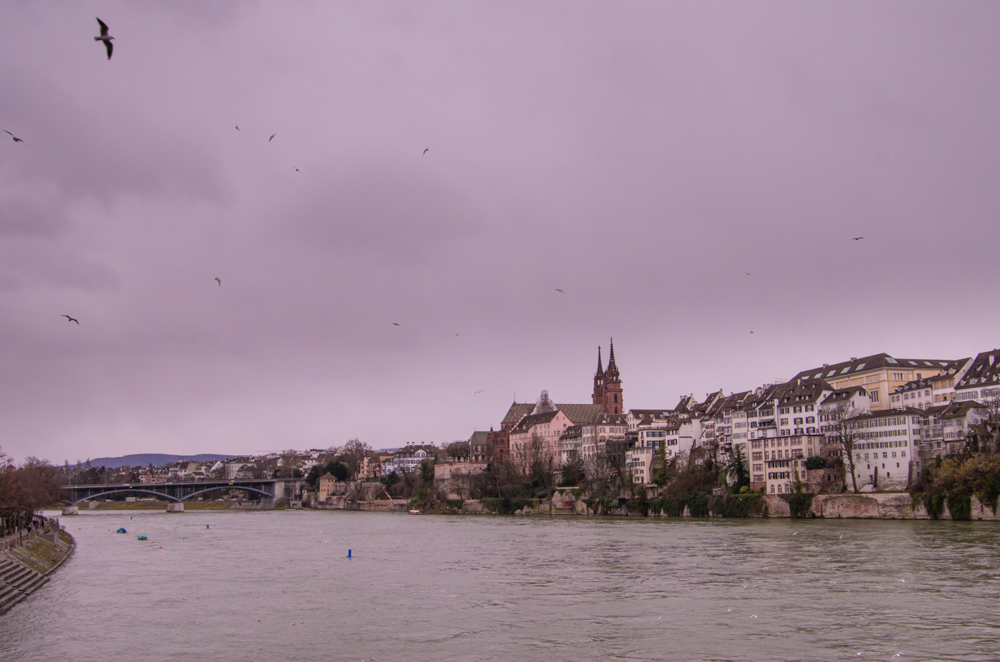 View towards Basel's old-town over the Rhine river.