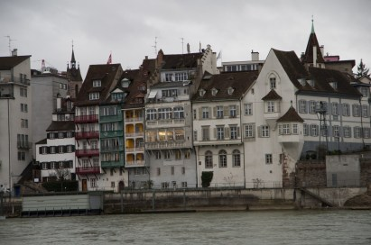 Tiny houses on the bank of the Rhine river in Basel