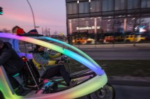 Sven and his disco-rikscha on the Music Ride 2015 during Berlin Bicycle Week
