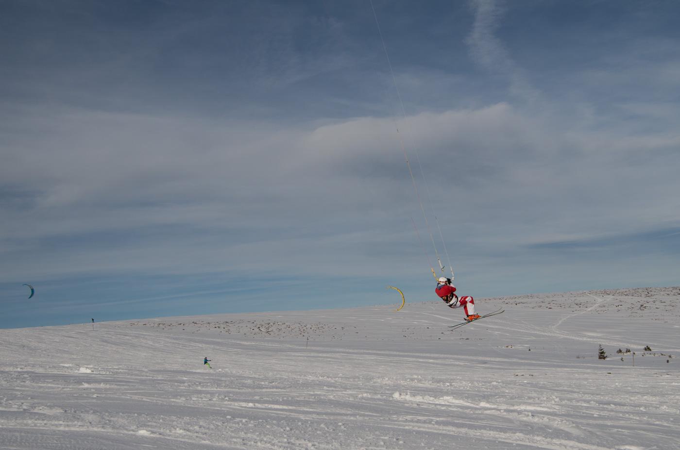 Snowkiter on Feldberg in the Black Forest mountains